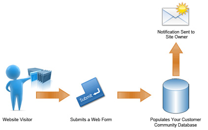 Web form populates email marketing database and notifies owner